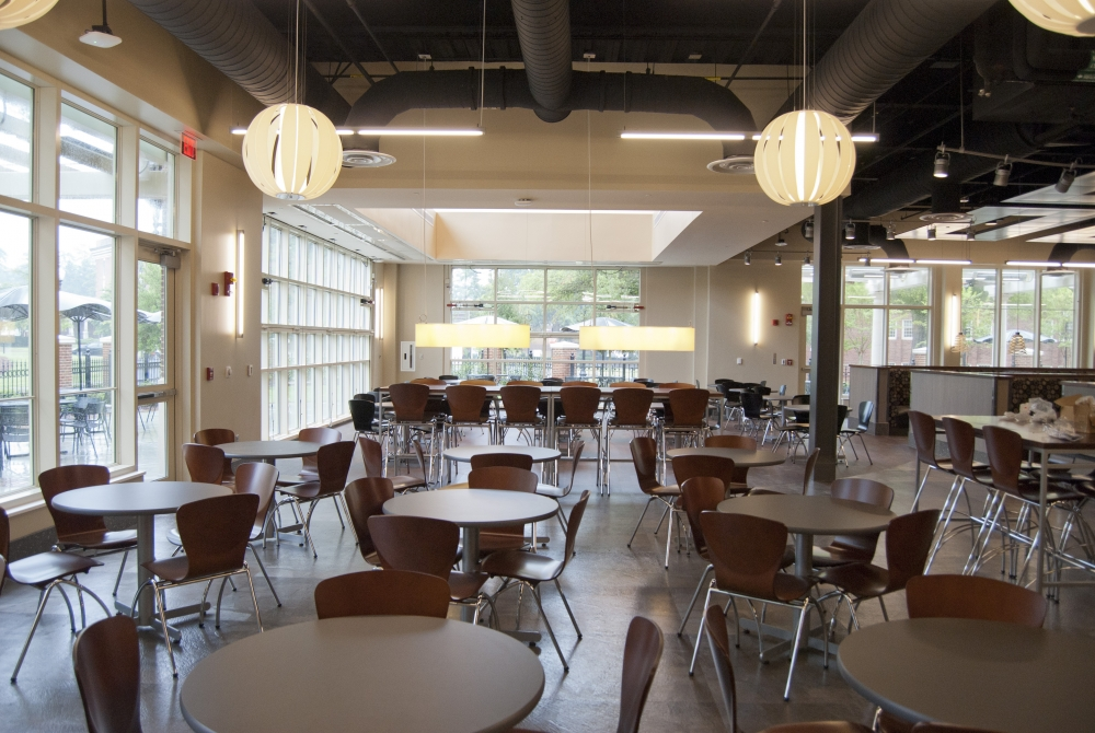 Wilson clear vue bi fold doors open up a university dining for U of t dining hall